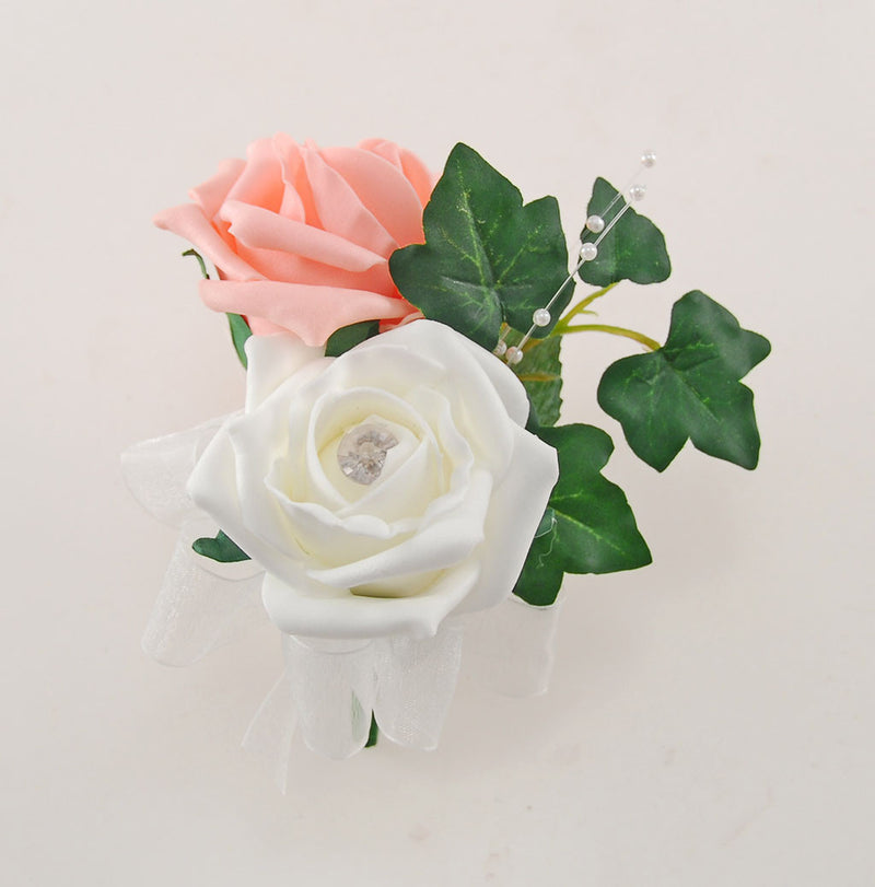 Ivory & Peach Rose Evie Wedding Shower Package, Brides Shower, Bridesmaids Bouquet, Flower Girl Posy, Wand, Grooms Buttonhole