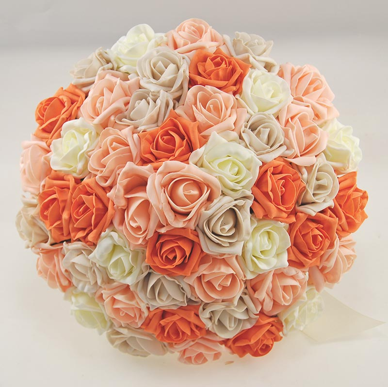 Extra Large Brides Wedding Bouquet in Orange, Peach, Lemon, Mocha Roses