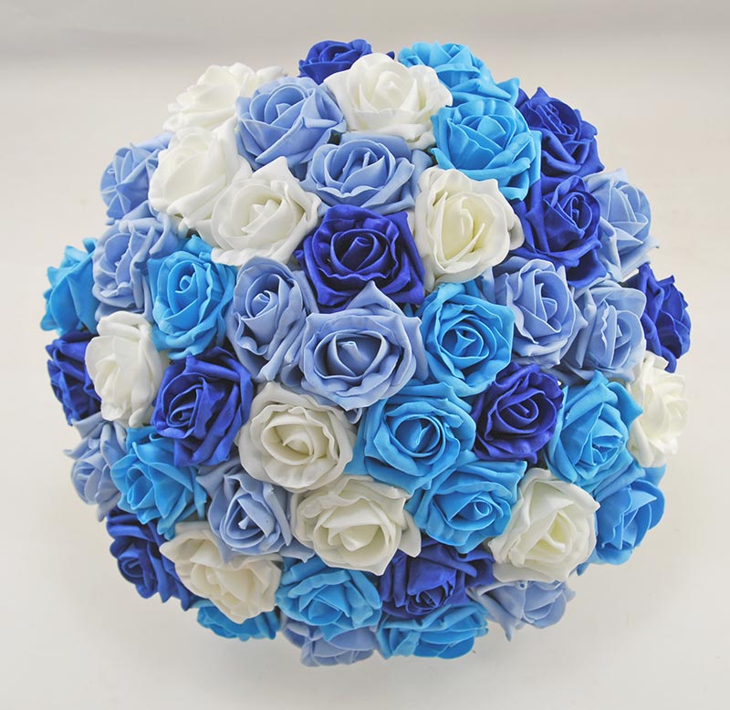 Extra Large Brides Turquoise, Royal Blue, Light Blue, Ivory Rose Wedding Bouquet