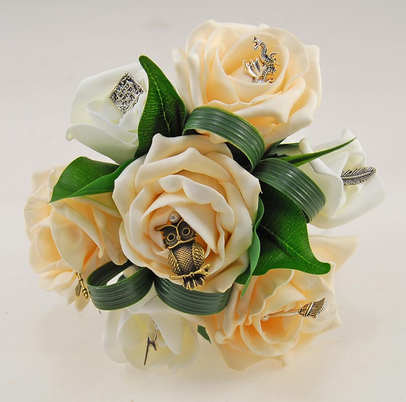 Flower Girl Cream & Ivory Foam Rose Harry Potter Charm Wedding Posy
