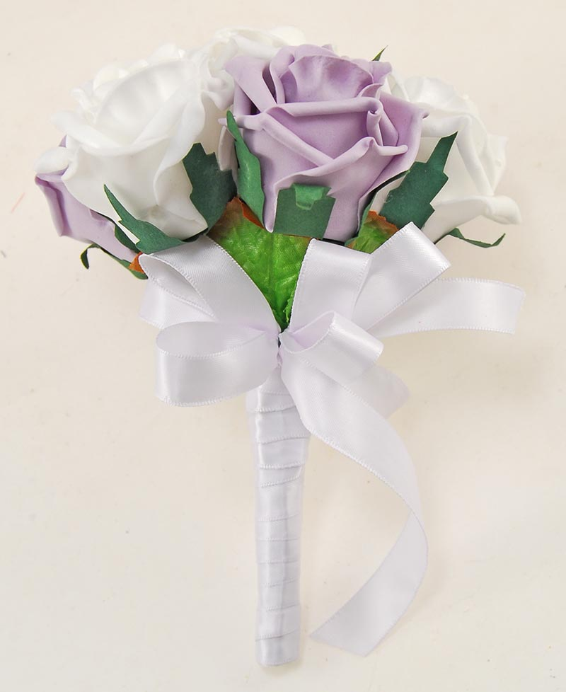 Flower Girls Lilac & White Foam Rose Artificial Wedding Posy Bouquet