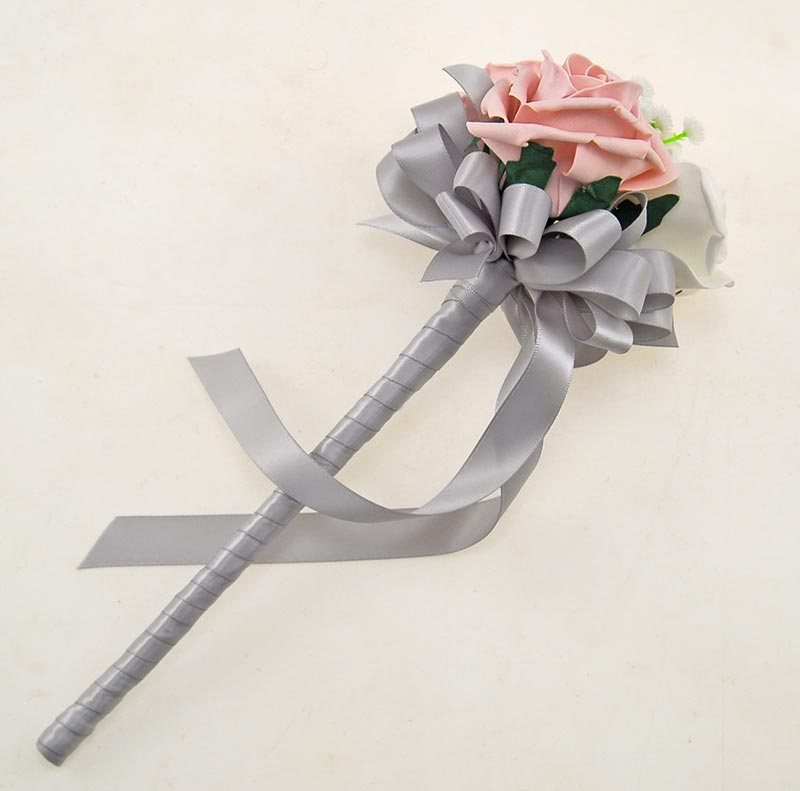 Flower Girls  Dusky Pink, Ivory Artificial Foam Rose & Gypsophila Wedding Wand