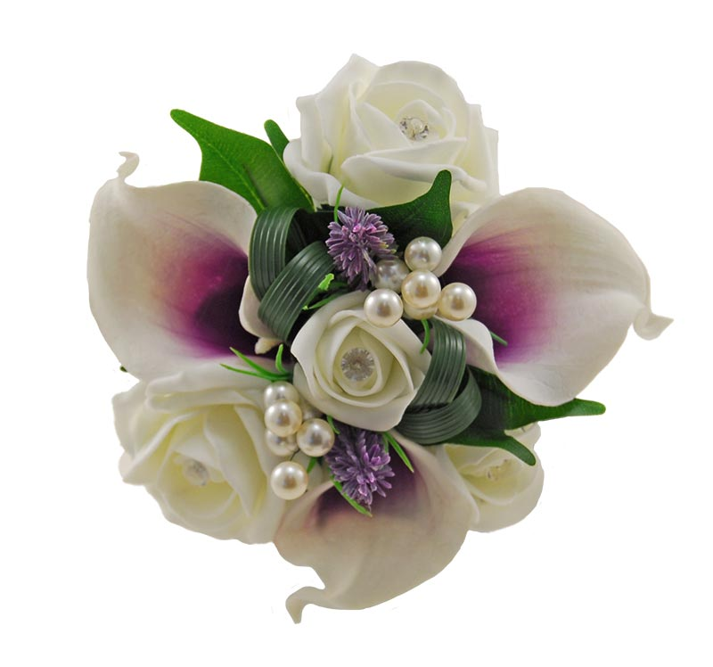 Flower Girls Ivory Diamante Rose & Purple Calla Lily Wedding Posy with Pearls