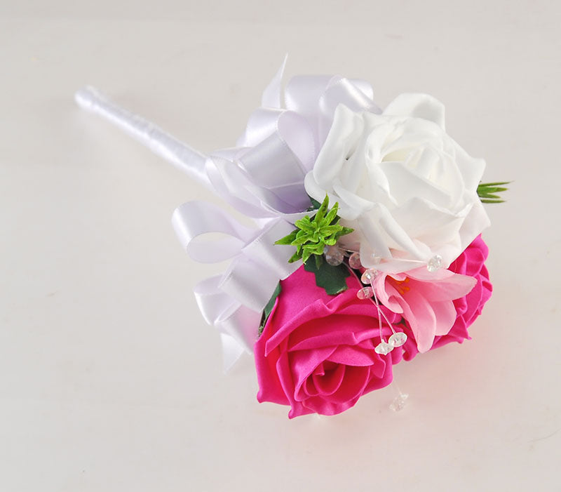Flower Girl ,Cerise Pink & White Rose, Silk Freesia Wedding Wand