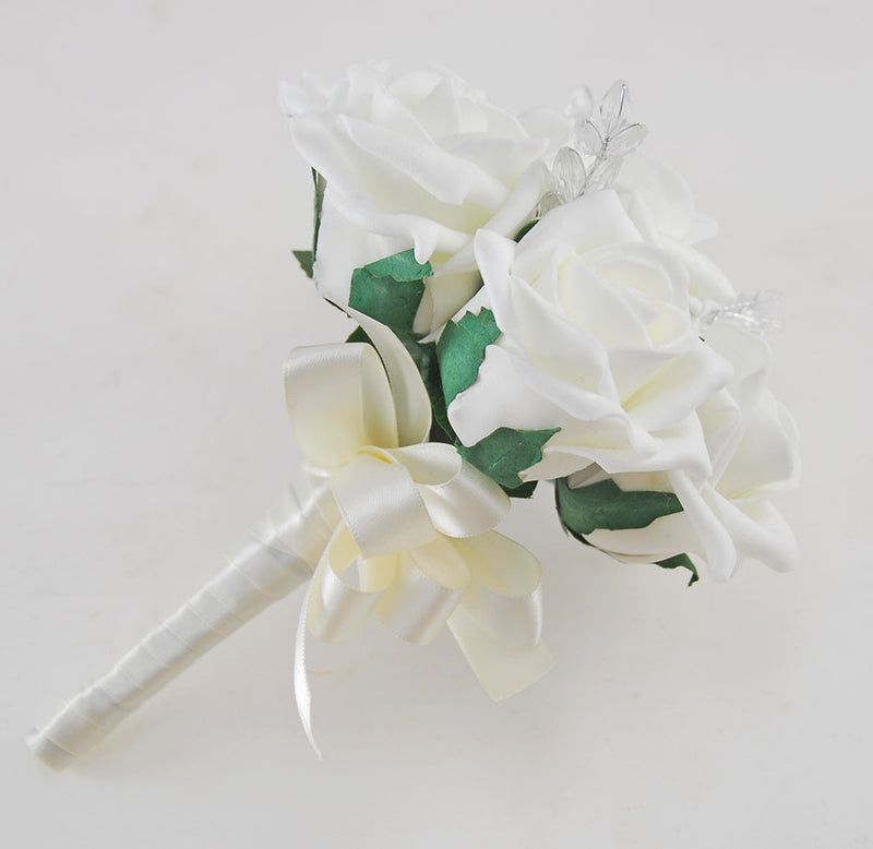 Flower Girl Ivory Rose & Crystal Leaf Wedding Posy