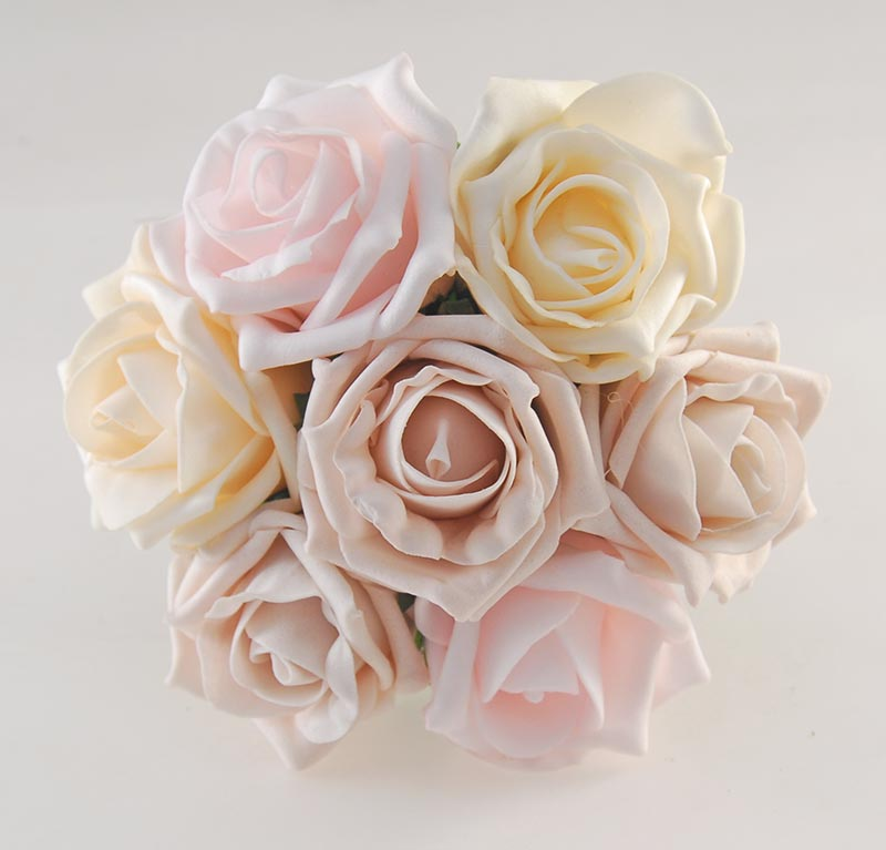 Flower Girl Pink Mocha, Cream Rose, Pearl, Name Charm Wedding Posy