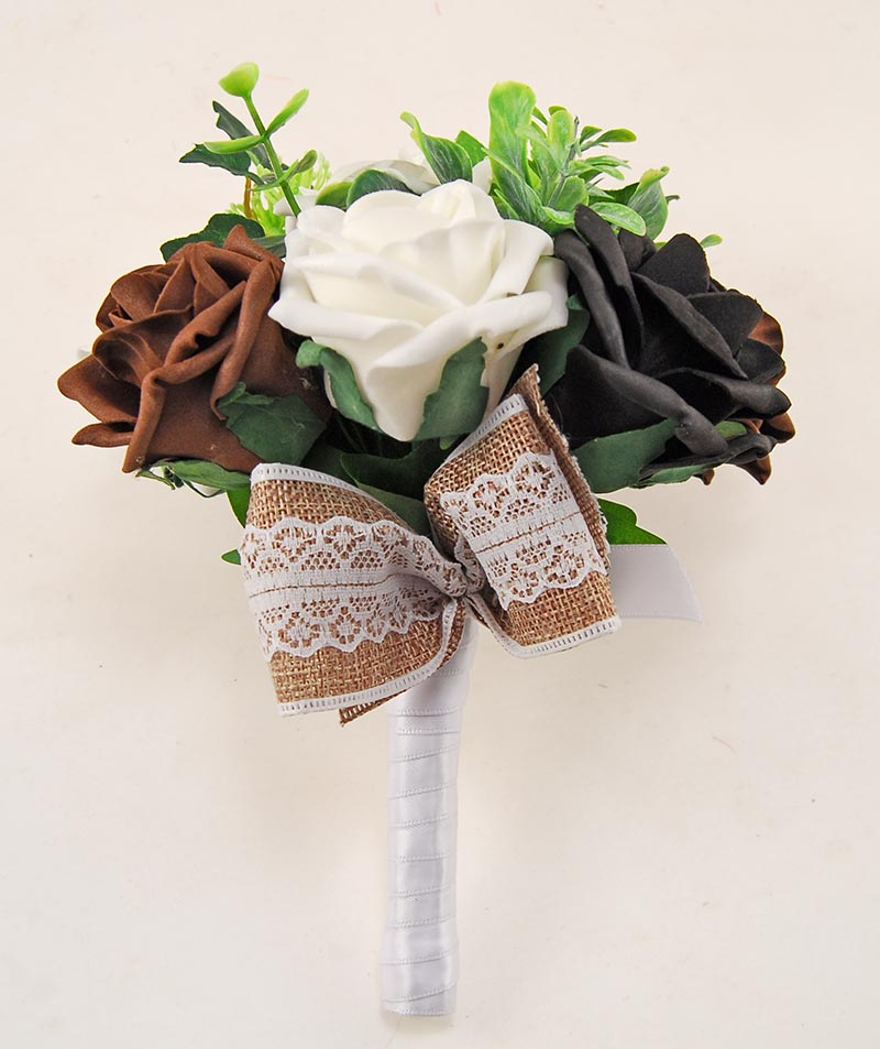 Black & Brown Rose Hessian Lace Ribbon Amber Wedding Flower Package