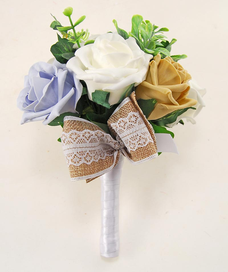 Coffee & Steel Blue Rose Hessian Lace Ribbon Amber Wedding Flower Package