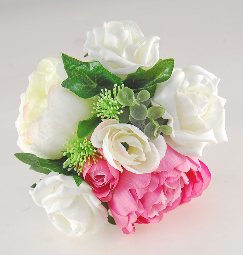 Ivory, Pink Silk Peony & Ivory Foam Rose Grace Wedding Flower Package