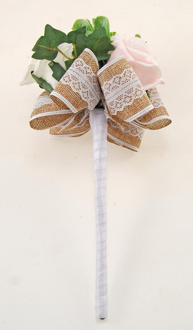 Cerise & Pale Pink & Ivory Rose Hessian Lace Ribbon Amber Wedding Flower Package