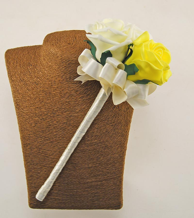 Flower Girl Yellow, Lemon, Ivory Foam Rose Wedding Wand