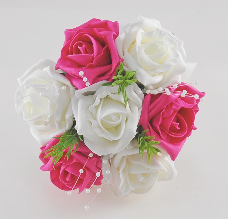 Flower Girls Cerise Pink, Ivory Rose Wedding Posy with Rosemary & Pearls