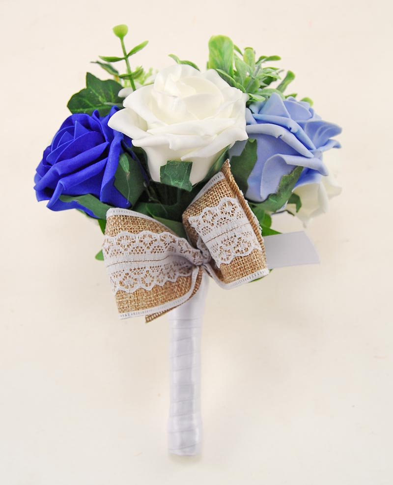 Royal Blue & Ivory Rose Hessian Lace Ribbon Amber Wedding Flower Package