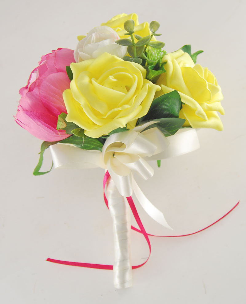Ivory, Pink Silk Peony & Yellow Foam Rose Grace Wedding Flower Package