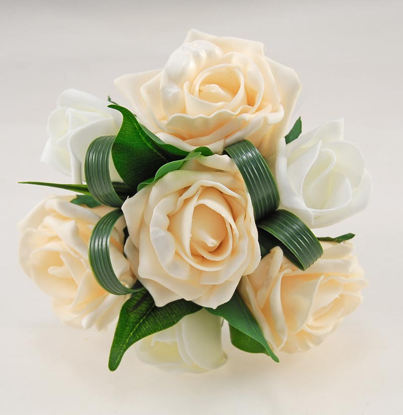 Flowergirls Cream, Ivory Foam Rose & Foliage Wedding Posy