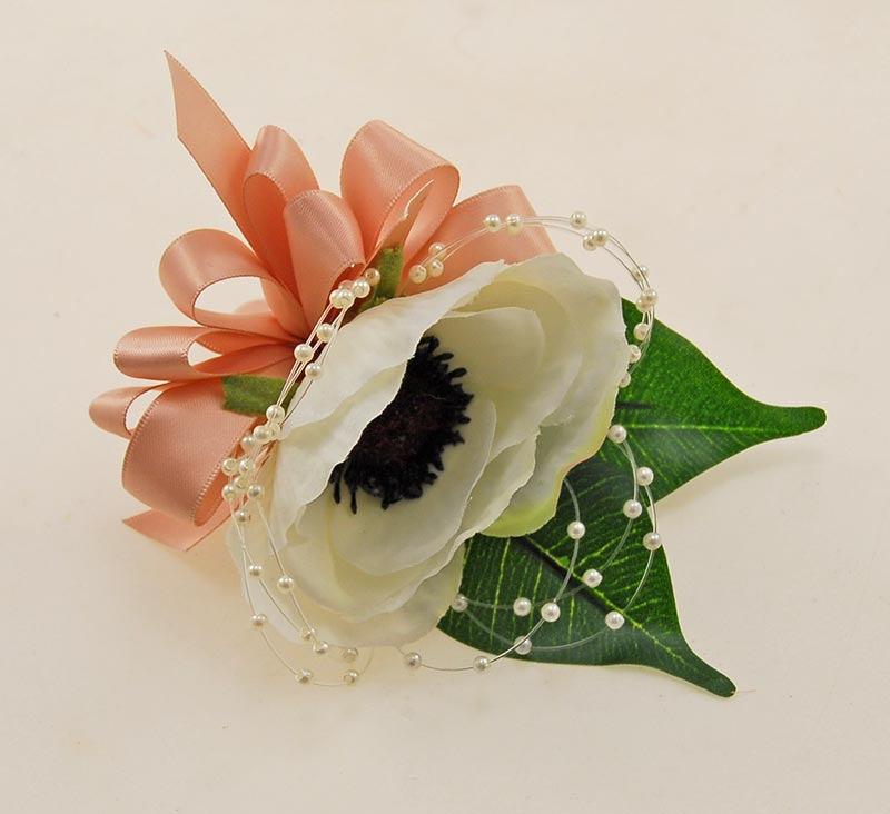 GUEST SILK IVORY ANEMONE WEDDING BUTTONHOLE WITH IVORY PEARLS