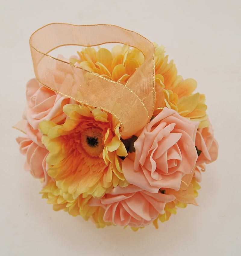 Golden Orange Silk Gerbera & Peach Rose Pomander Flower Ball