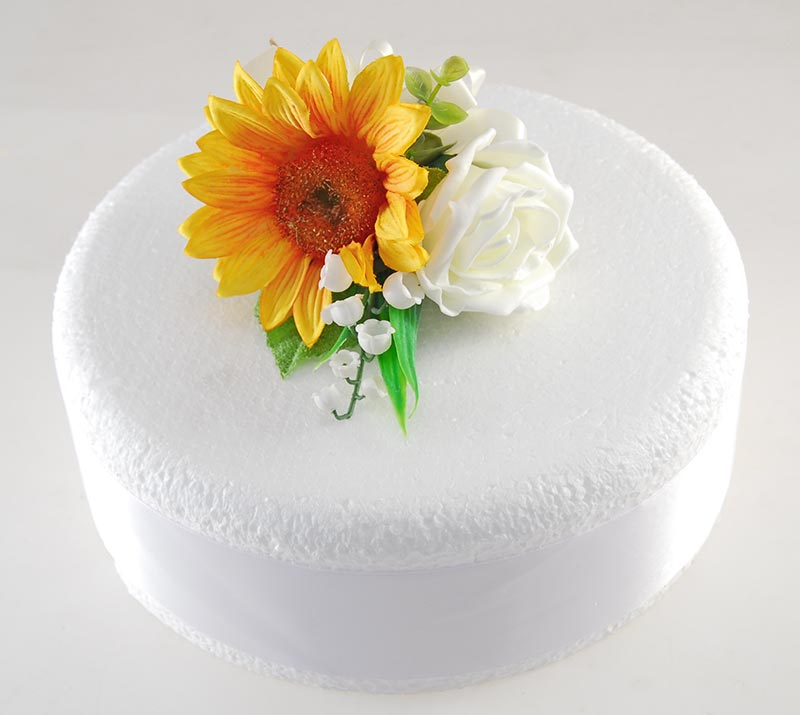 Golden Silk Sunflower, Ivory Rose & Lilly of the Valley Wedding Cake Spray