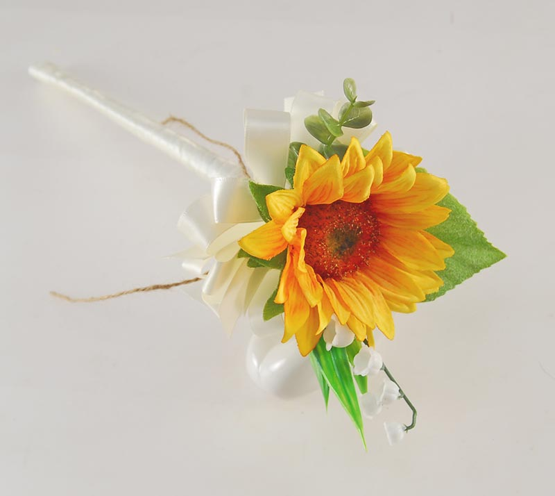 Golden Silk Sunflower & Lily of the Valley Flower Girl Wedding Wand