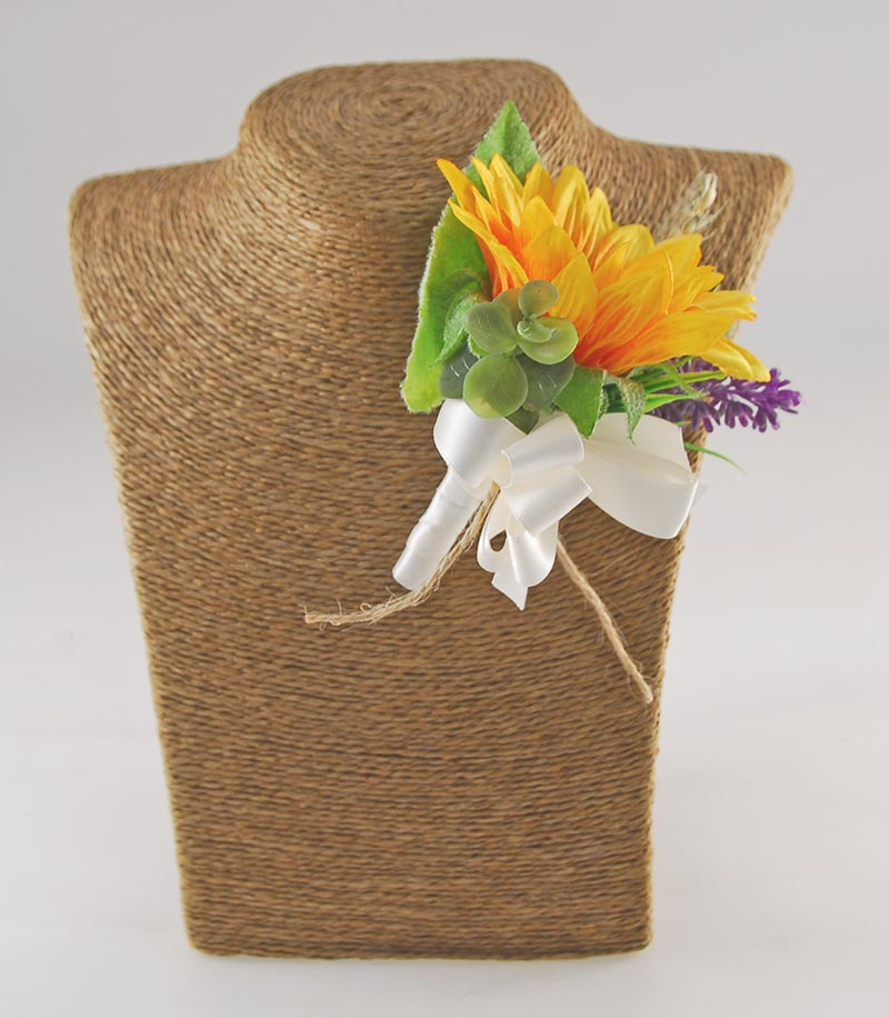 Golden Sunflower, Lavender & Wheat Spray Wedding Guest Buttonhole