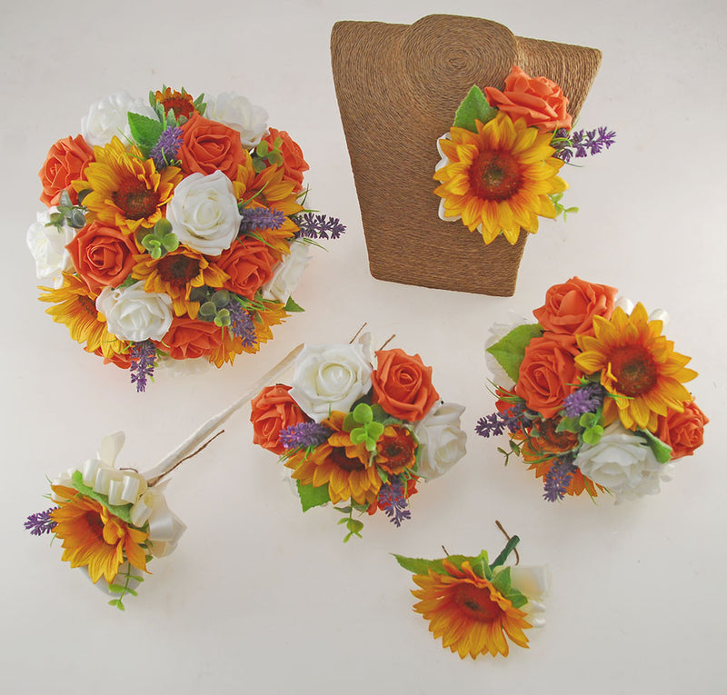 Golden Sunflower, Orange & Ivory Rose Zoe Wedding Flower Package