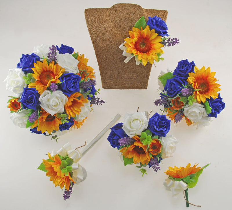 Golden Sunflower, Royal Blue & Ivory Rose Zoe Wedding Flower Package