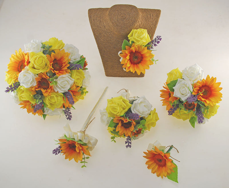 Golden Sunflower, Yellow & Ivory Rose Zoe Wedding Flower Package