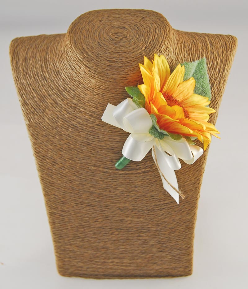 Golden Yellow Silk Sunflower Wedding Guest Buttonhole with Ivory Bow