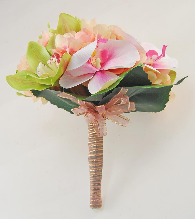 Green, Pink Orchid & Pink Silk Peony Bridal Wedding Bouquet