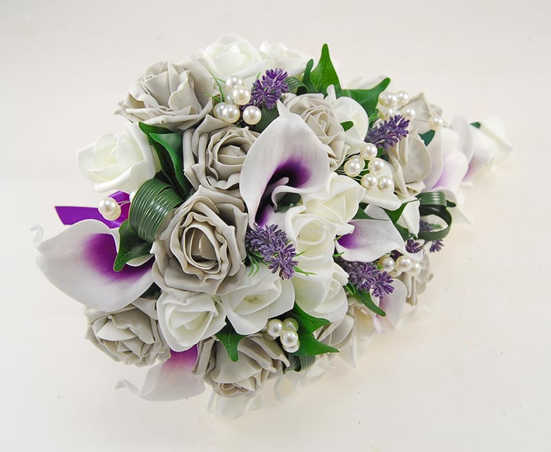 Grey Rose & Purple Calla Lily Pearl Bridal Shower Bouquet