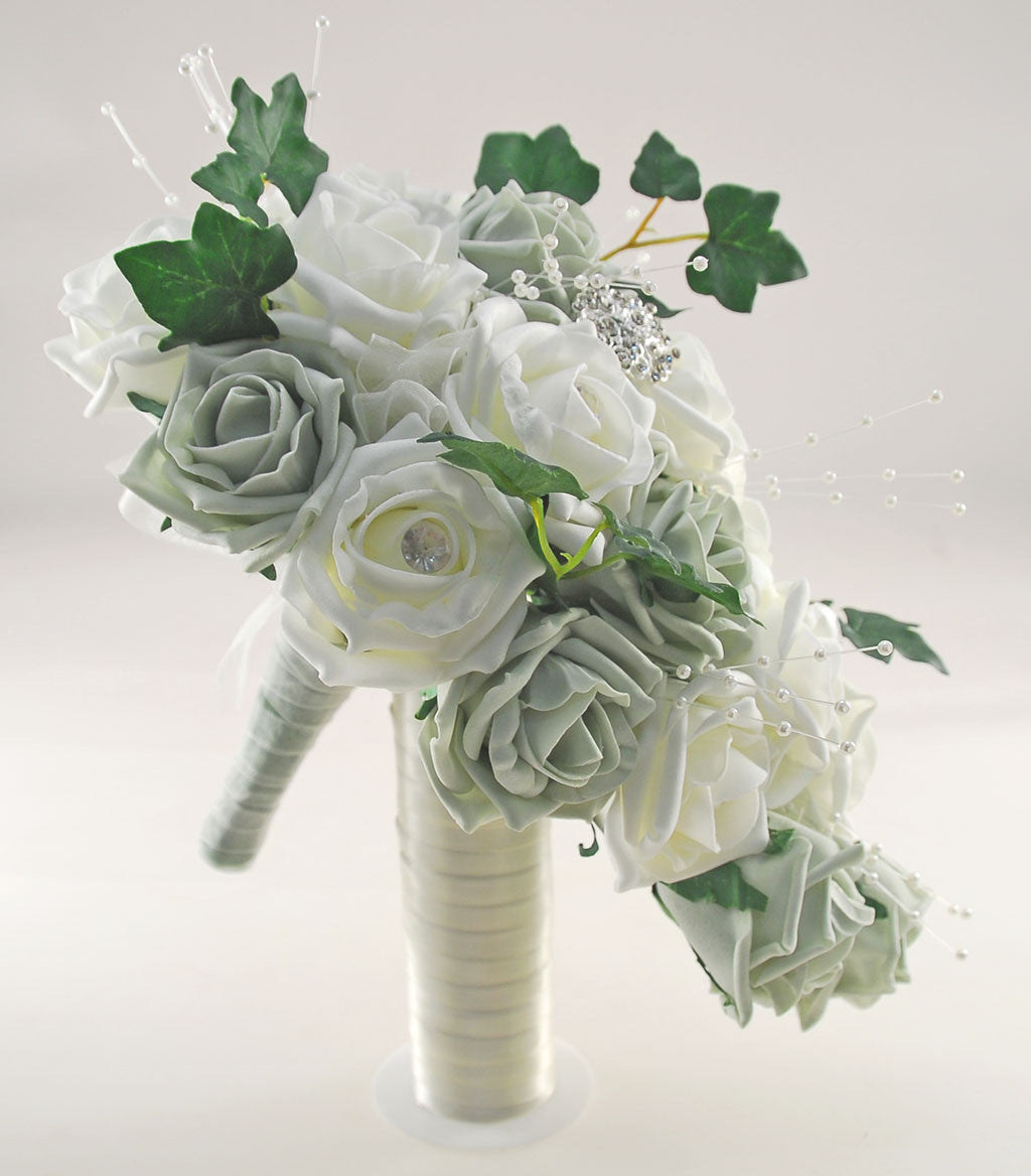 Grey ivory rose evie wedding shower package brides shower grey ivory rose evie wedding shower package brides shower bridesmaids bouquet flower girl posy wand grooms buttonhole izmirmasajfo