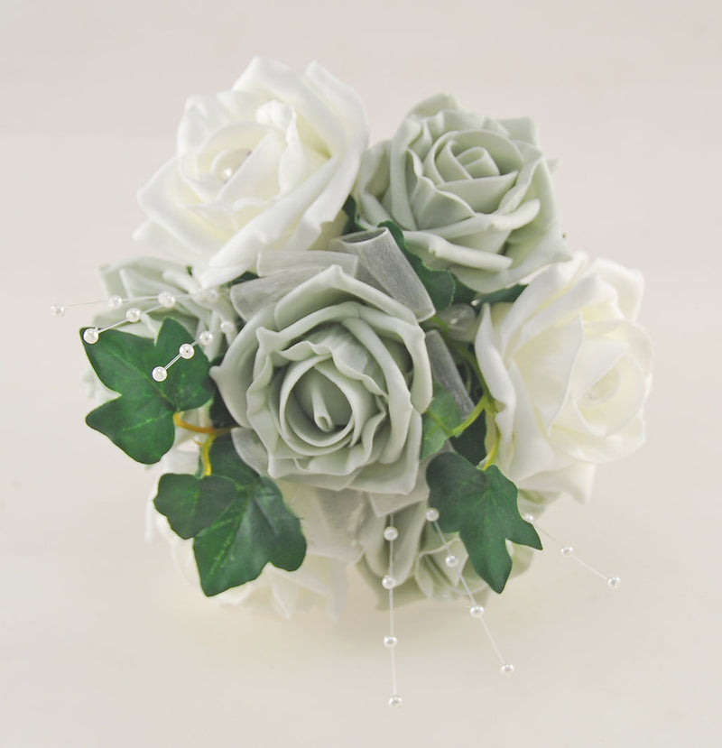 Grey & Ivory Rose Evie Wedding Shower Package, Brides Shower, Bridesmaids Bouquet, Flower Girl Posy, Wand, Grooms Buttonhole
