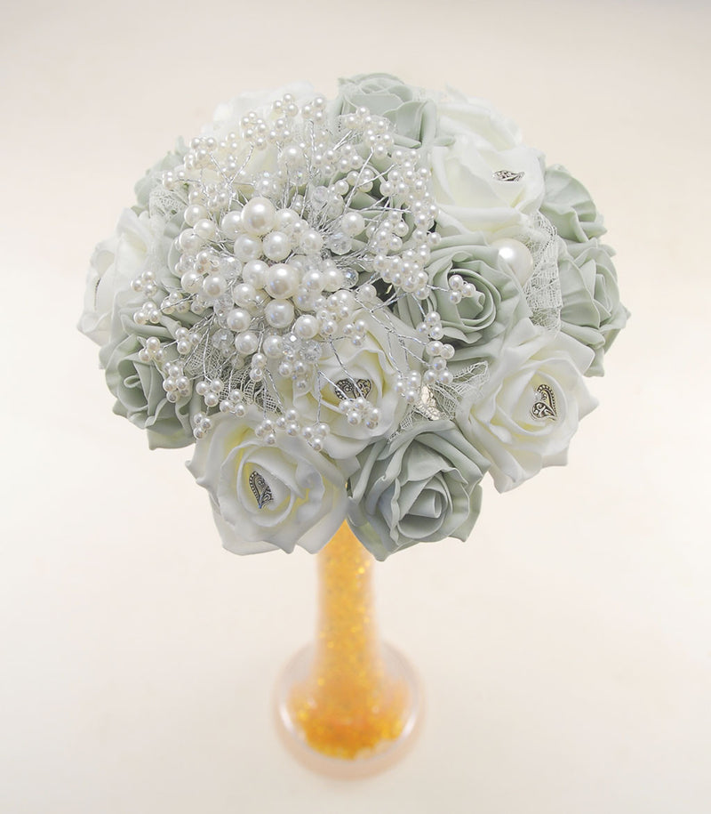 Grey & Ivory Rose Table Vase Posy with Pearl, Bead Spray & Vintage Heart Charms