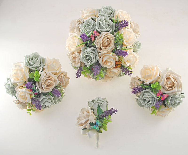 Grey, Mocha & Cream Rose Butterfly and Lavender Wedding Flower Package with Brides Bouquet, Bridesmaids Posy, Flower Girl Posy, Grooms Buttonhole