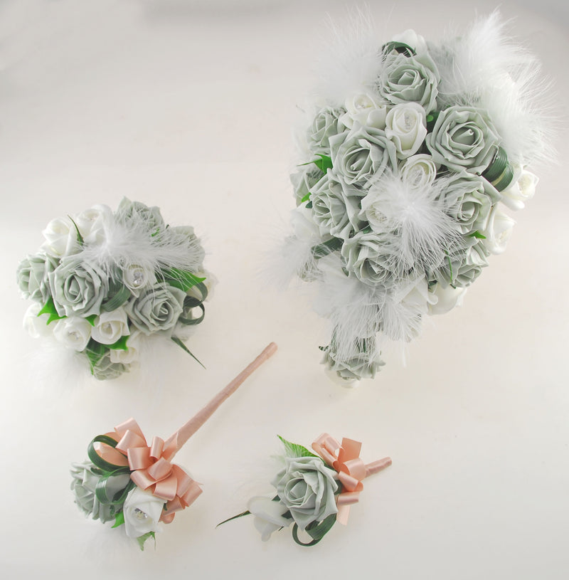 Rebecca Shower Package in Ivory Diamante Roses, Ivory Feathers & Grey Roses