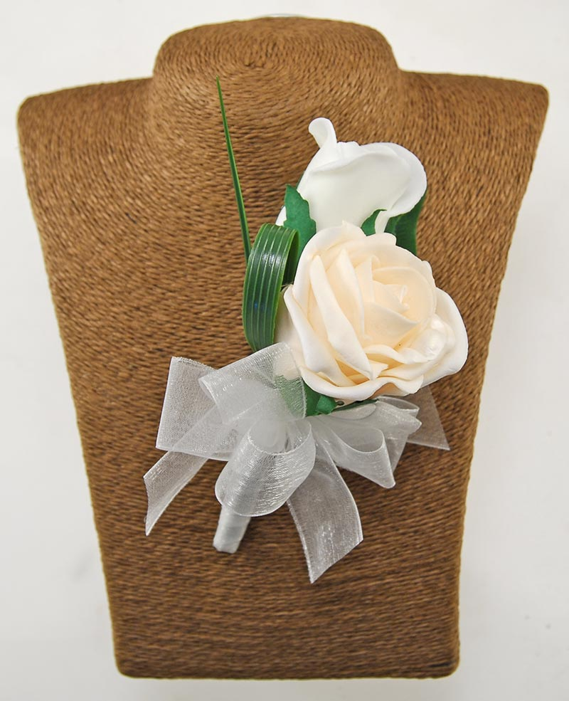 Grooms Double Cream & Ivory Foam Rose Wedding Buttonhole