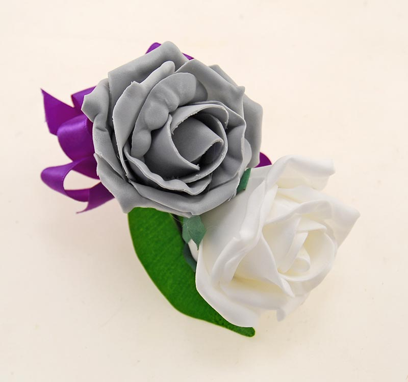 Grooms Double Artificial Rose Wedding Day Buttonhole White & Grey