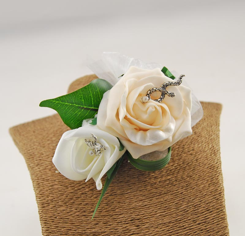 Grooms Double Cream & Ivory Rose Harry Potter Charm Buttonhole