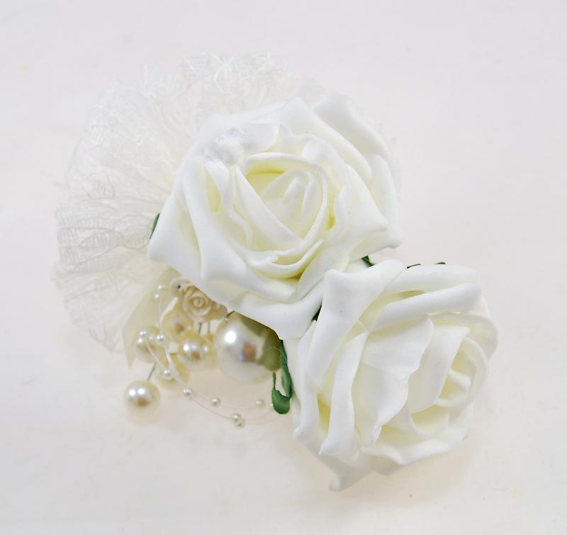 Grooms Double Ivory Rose & Pearl With Lace Bow Wedding Buttonhole