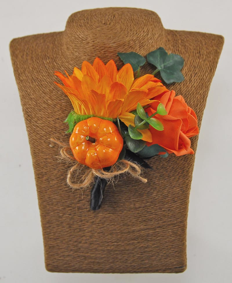 Grooms Orange Silk Sunflower, Rose & Pumpkin Wedding Buttonhole