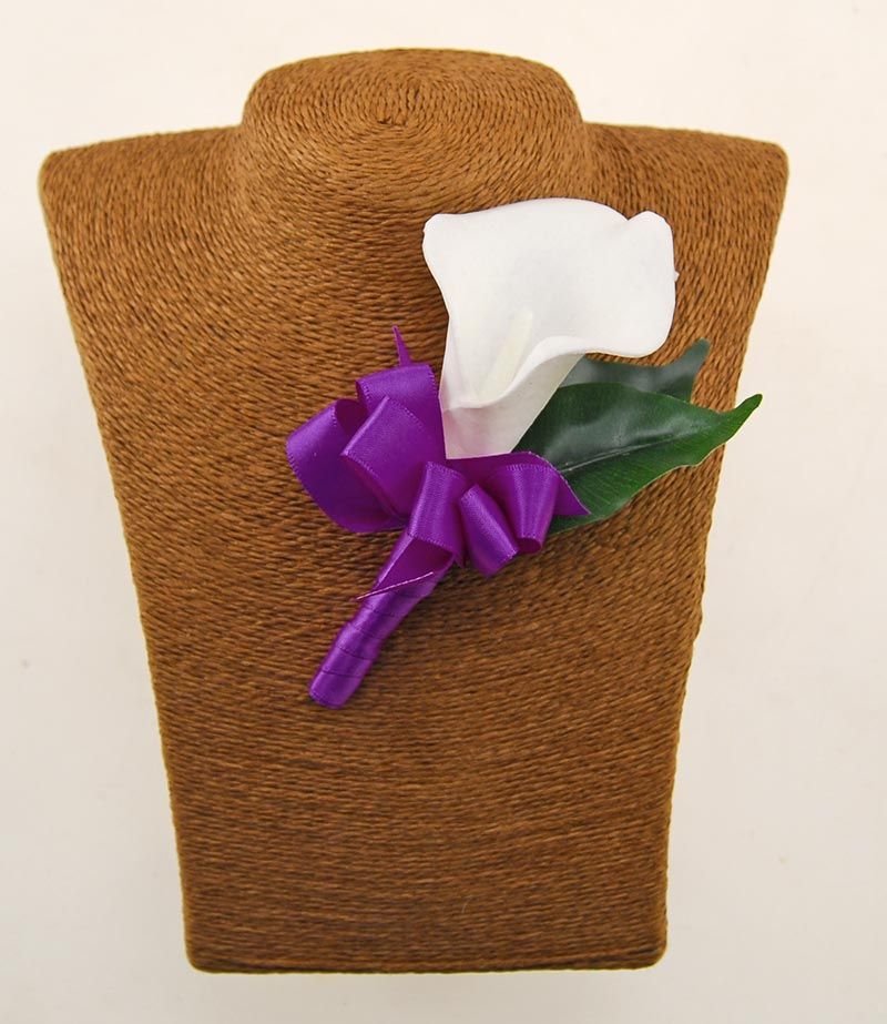 Grooms Artificial Ivory Calla Lily Wedding Day Buttonhole