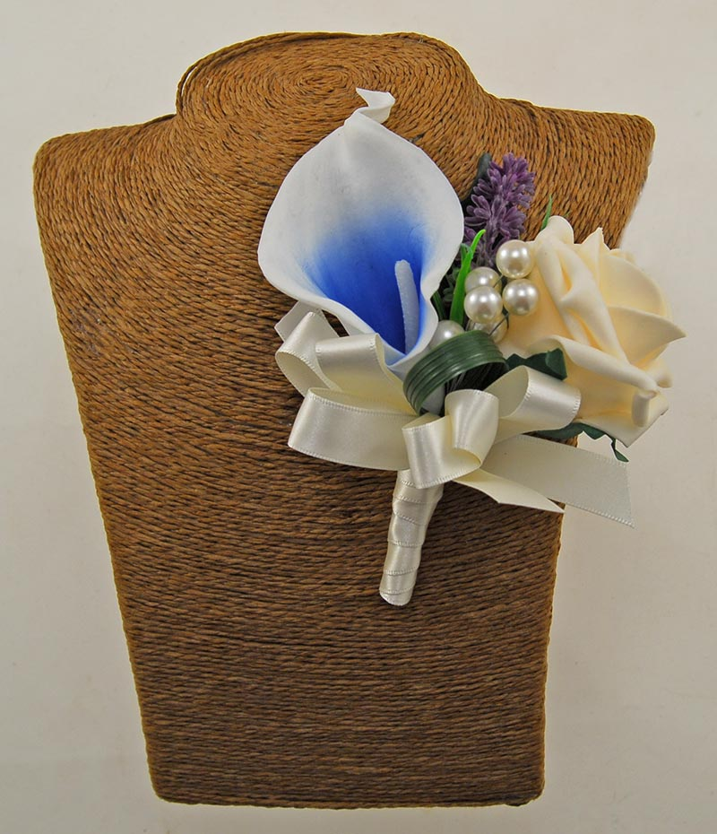 Grooms Double Blue Calla Lily & Cream Rose Buttonhole with Pearls & Lavender