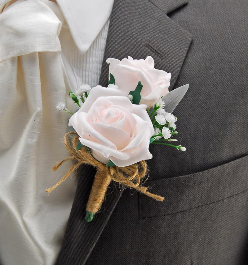 Grooms Double Light Pink Rose Buttonhole with Gypsophila