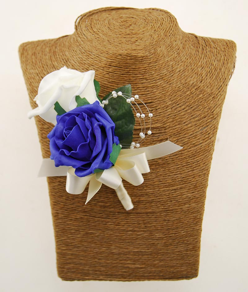 Grooms Double Royal Blue, Ivory Rose & Pearl Wedding Buttonhole