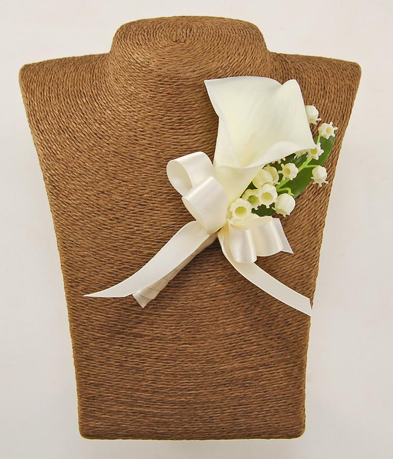 Grooms Artificial Calla Lily & Lily of the Valley Wedding Day Buttonhole