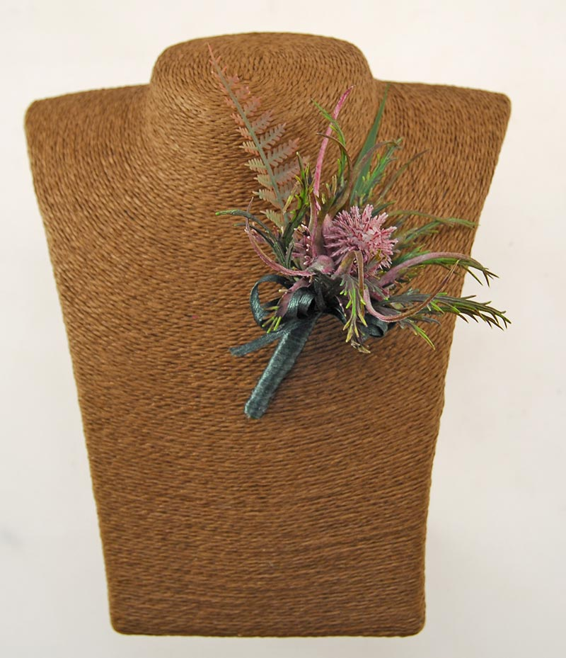 Grooms Artificial Purple Sea Holly Thistle & Fern Wedding Buttonhole