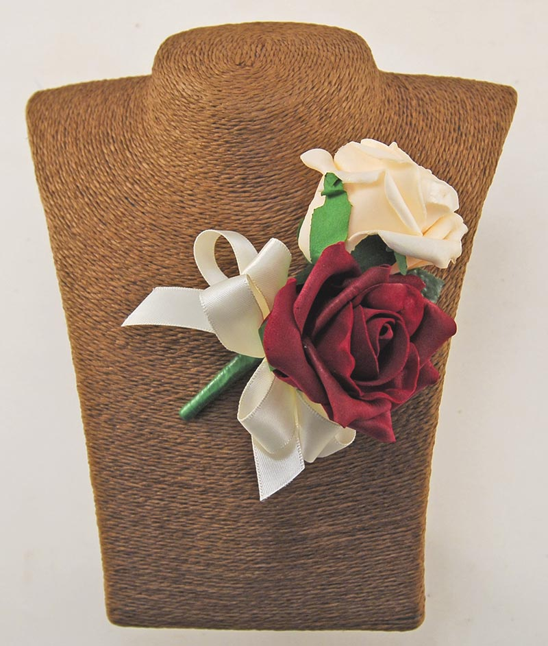 Grooms Burgundy & Cream Artificial Foam Rose Double Buttonhole
