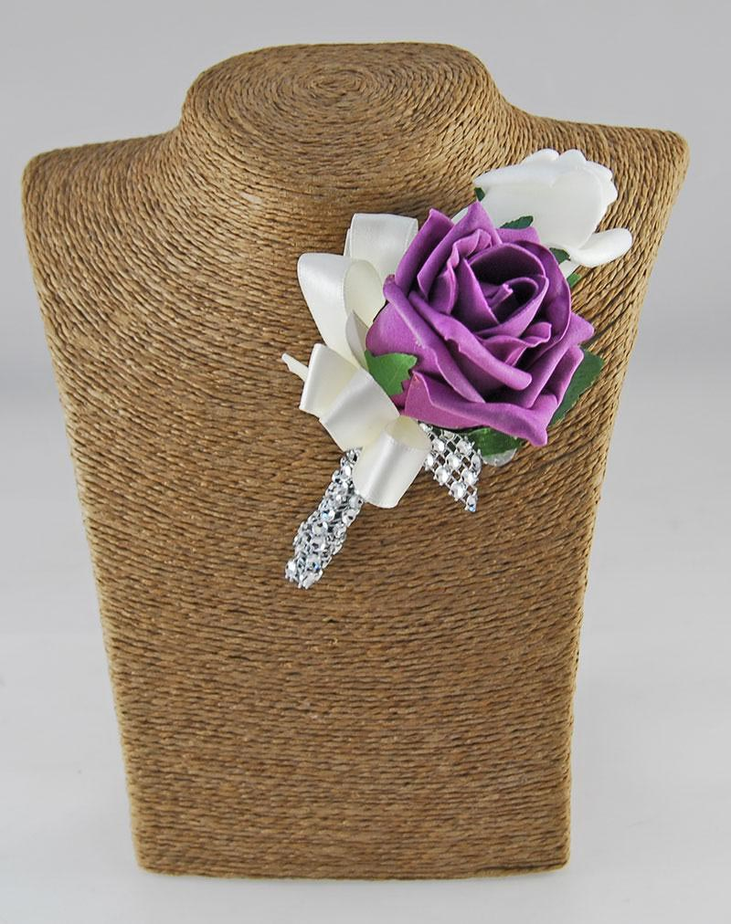Nicole Plum, Ivory Foam & Silk Purple Rose Diamante Handle Wedding Package