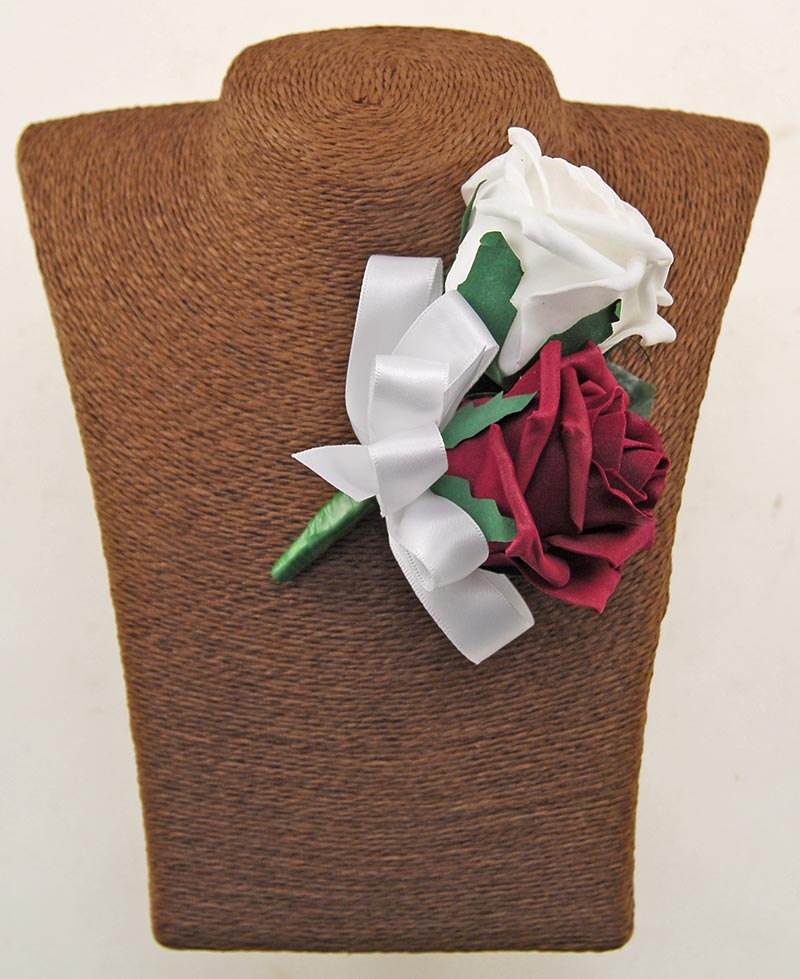 Grooms Double Burgundy & White Foam Rose Wedding Buttonhole