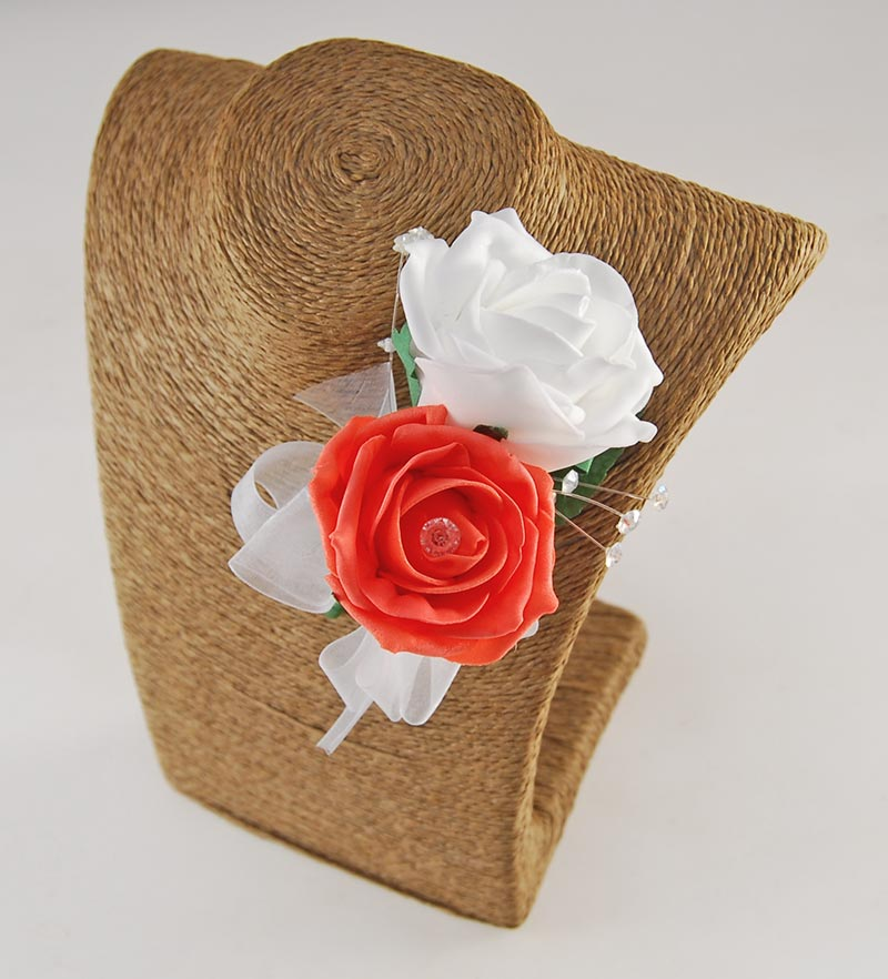 Grooms Double Coral & White Rose Crystal Spray Buttonhole